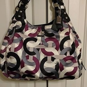 Coach satin type satchel traditional coach print.